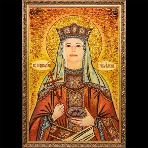 Именная икона Св. Елены из янтаря. Размеры именной иконы - 130 х 90 см. Цена иконы Святой Елены - доступная.