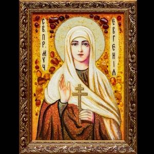 Икона Святой Евгении из янтаря. Размер янтарной иконы: 20 х 30 см.