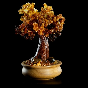 На фото денежное дерево из янтаря. Высота дерева из янтаря 30 см. Масса янтаря в изделии 701 гр., цена янтарного дерева доступная.
