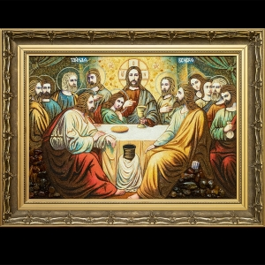 Качественная икона из янтаря: «Тайная вечеря». Размер янтарной иконы: 40 х 60 см. Продажа икон «Тайная вечеря» из янтаря в Киеве. Иконы ручной работы в деревянных рамах лучших киевских мастеров.