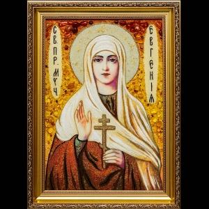 Янтарная икона Святой Евгении. Цена янтарной иконы Святой Евгении - доступная.