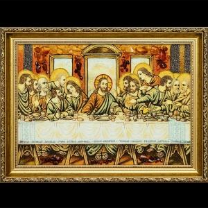Размер этой иконы из янтаря: «Тайная вечеря» 50 х 80 см.. Купить икону из янтаря любого размера сегодня в Киеве по доступной цене - вы можете, связавшсь  с нашим менеджером по тел. Контакты сайта.