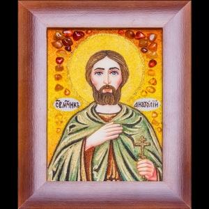 Икона Св. Анатолия из янтаря. Янтарная икона ручной работы, в деревянной раме. размер иконы: 15 х 20 см. Цена иконы из янтаря 650 грн.