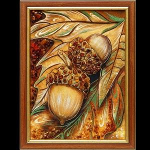 Картина из янтаря желуди. Размер янтарной картины 30 х 40 см.  Доступная цена янтарной картины 2 тыс. грн.