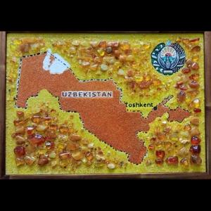 Картина из янтаря: Карта Узбекистана. Размер янтарной картины: 30 Х 40 см. Цена картины из янтаря 4 тыс. грн.