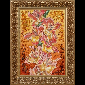 Картина из янтаря в деревянной раме: Гладиолусы. Размер янтарной картины 40 х 60 см. Цена картины из янтаря 7 тыс. грн.