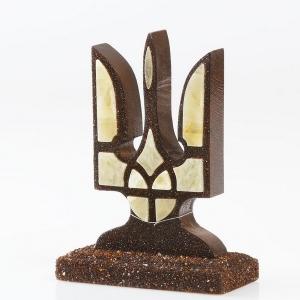Герб Украины из янтаря, настольный сувенир на подарок.