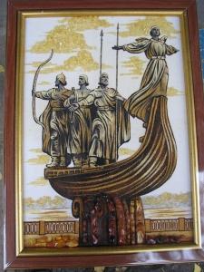 Вид Киева. Памятник основателям Киева