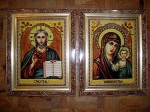 Купить свадебные иконы из янтаря