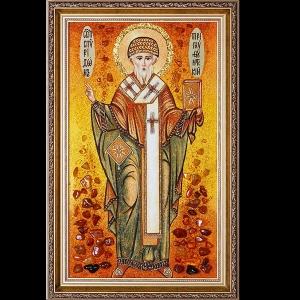Икона из янтаря св. Спиридона Тримифунтского