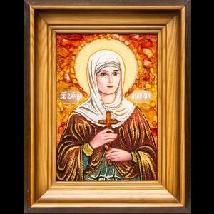 Именная икона Марины из янтаря