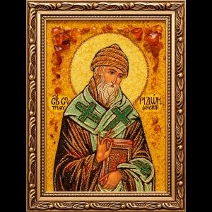 Икона из янтаря Св. Спиридону Тримифунтскому