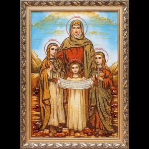 Янтарная икона Вера Надежда Любовь и мать их София