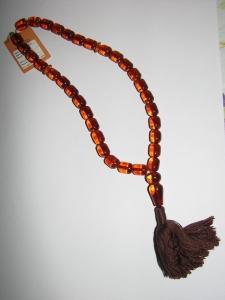 Мусульманские чётки из цельного калиброванного янтаря на 33 бусины