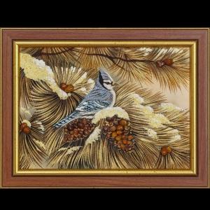 Картина птица в лесу