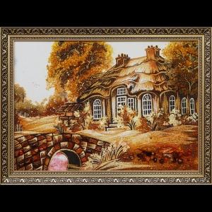 Картина из янтаря домик в деревне