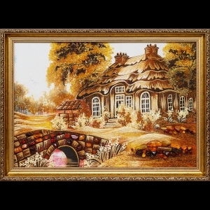Картина из янтаря дом