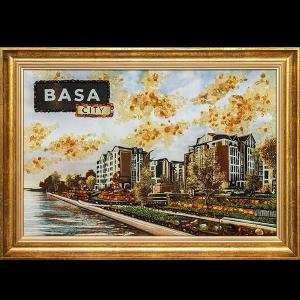 Картина из янтаря под заказ. Городской пейзаж. Ручная работа, картина на тканевой основе в деревянной раме.