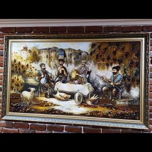 Картина из янтаря в деревянной раме. Размер картины из янтаря: 152 х 92 см.
