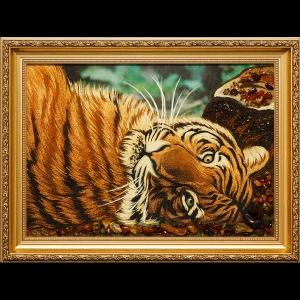 Янтарная картина тигр