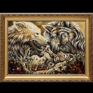 Картины из янтаря волчья семья