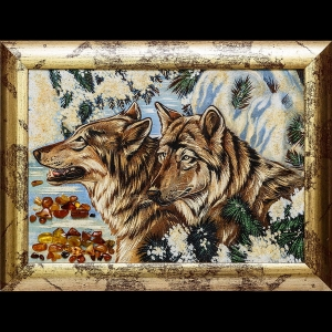 Картина из янтаря волки в лесу