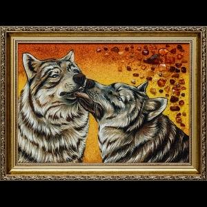 Картина из янтаря волки