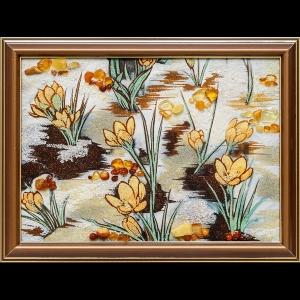 Картина из янтаря подснежники