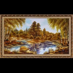 Панорамные картины. Озеро в лесу