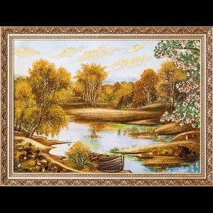 Картина из янтаря: Лодка на озере.
