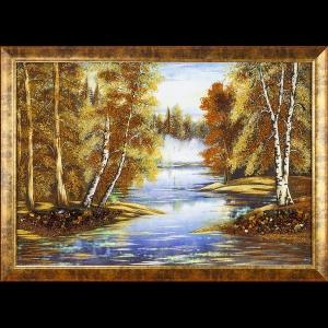 Картина из янтаря большого размера: Река в лесу.