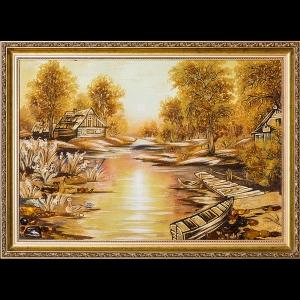 Картина из янтаря: Утро в деревне.