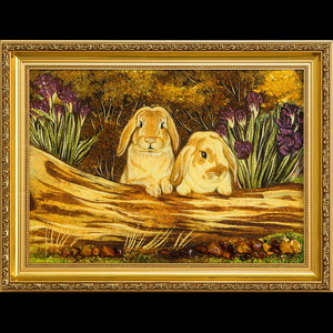 Картина два кролика из янтаря