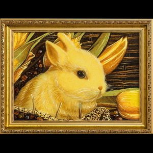 Картина кролик из янтаря