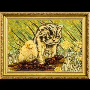Картина котёнок из янтаря