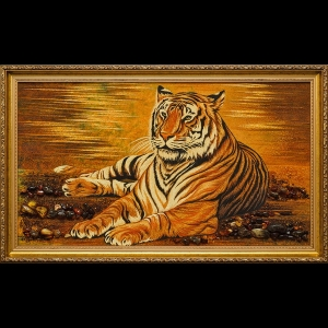 Панорамная картина из янтаря тигр