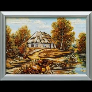 Картина из янтаря сельский пейзаж