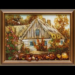 Картина из янтаря хатка в селе
