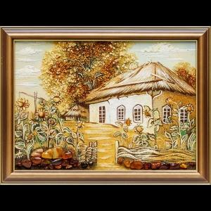 Картина из янтаря: Домик в деревне