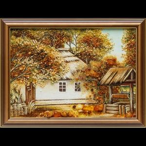 Картина из янтаря: Украинский домик в деревне