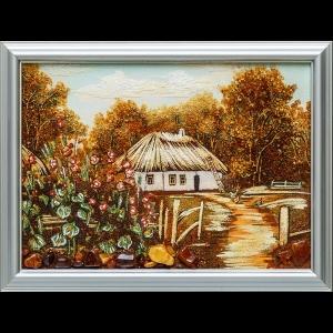 Картина из янтаря: Пейзаж украинского села