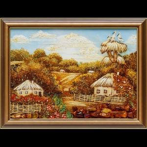 Янтарная картина пейзаж украинской деревни