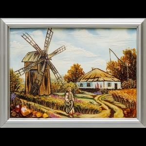 Картина из янтаря: Украинский пейзаж деревни