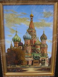 Вид Москвы. Храм Василия Блаженного. 60x40 cm.