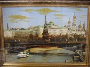 Картина виды Москвы. Москва река. 40x60 cm.