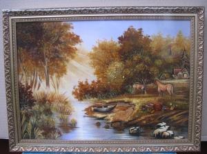 Картина рассвет в лесу