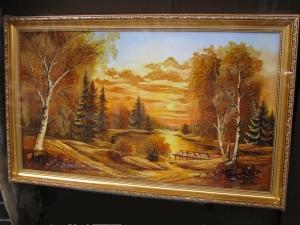 Пейзаж Картина из янтаря.(40х70 см.)