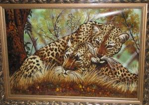 Картина из янтаря - Леопарды