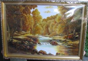 Пейзаж. Картина из янтаря - ручей в лесу