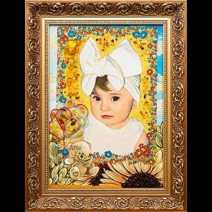 Портрет девочки из янтаря. Размер портрета из янтаря девочке: 30 х 40 см. Цена портрета девочки ручной работы - 4 тыс. грн.